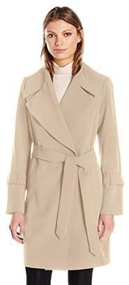 Diane von Furstenberg Women's Haley Wrapped Coat with Tie Belt and Large Collar