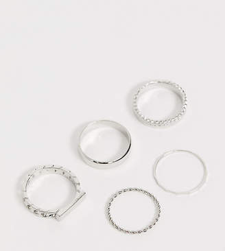 Asos DESIGN Curve pack of 5 rings in chain and bar design in silver tone
