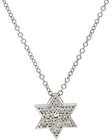 Diamonique Star of David Pendant w/ Chain,Sterling