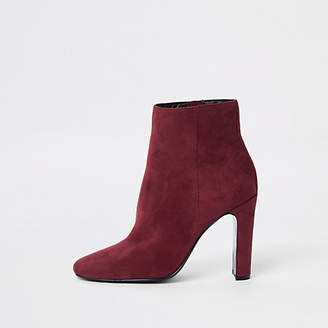 River Island Red square toe ankle boots