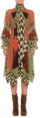 Etro Tie-Neck Multi-Print Silk Draped Midi Dress