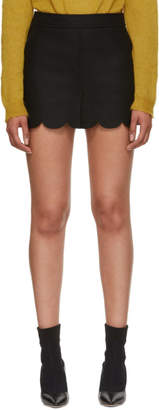 RED Valentino Black Scalloped Miniskirt