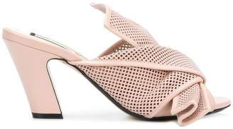 No.21 perforated bow detail mules