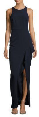 Xscape Jewelneck Sleeveless Front-Slit Dress $229 thestylecure.com