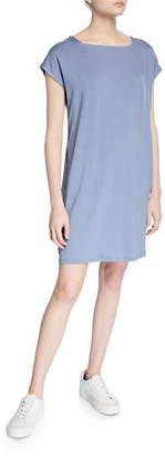 Eileen Fisher Square-Neck Short-Sleeve Jersey Shift Dress