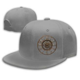7fde610c9e7 Lara Flat Brim Baseball Cap Clock Art Hip Hop Hat Adjustable Snapback Hats  Unisex