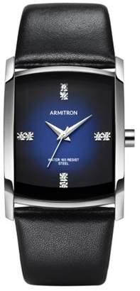 Armitron Men's Dress Sport Watch, Black Leather Strap