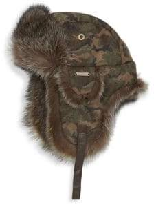 Crown Cap Fur-Trimmed Camo Flap Aviator Hat