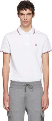Moncler White Tricolor Logo Polo