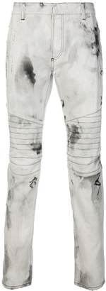 Balmain bleached biker jeans