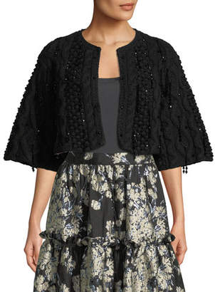 Co Bead-Embellished Cropped Cape Cardigan