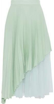 Christopher Kane Layered Pleated Tulle And Washed-silk Midi Skirt