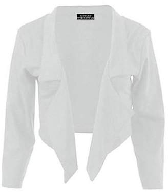 RIDDLED WITH STYLE Womens Plain Celeb Style Waterfall Top Ladies Long Sleeve Fancy Crooped Blazer#( Celeb Style Waterfall Blazer#US 6-8#Womens)