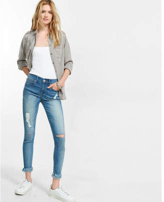 Express distressed mid rise frayed hem performance stretch cropped jean legging $79.90 thestylecure.com