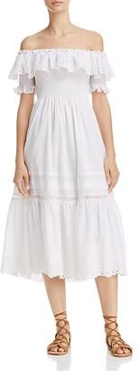 Rebecca Taylor Eyelet Off-the-Shoulder Midi Dress $495 thestylecure.com