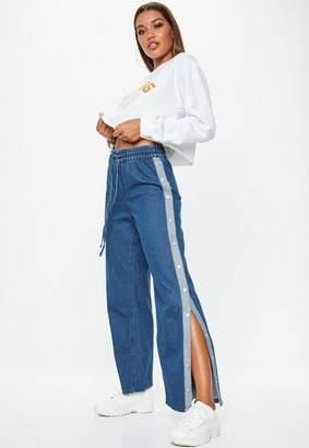 Missguided Blue Popper Side Wide Leg Denim Jeans