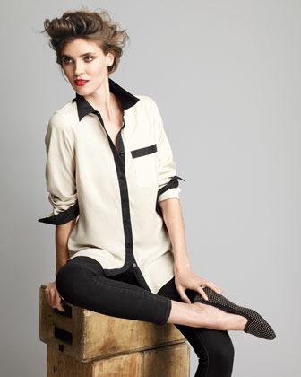 Go Silk Contrast-Trim Silk Blouse