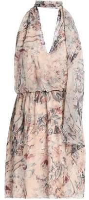 Haute Hippie Floral-Print Silk Crepe De Chine Halterneck Mini Dress
