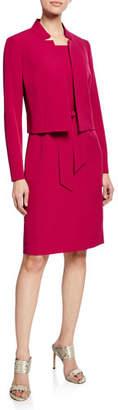 Albert Nipon Belted Sheath Dress W/Matching Jacket, Raspberry