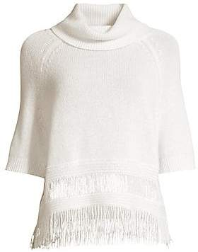 360 Cashmere Women's Brittany Fringe Hem Turtleneck Sweater