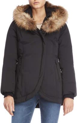 Soia & Kyo Real Fur Trim Hooded Bibbed Down Coat