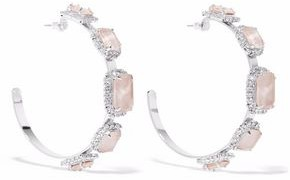 Elizabeth Cole Silver-Tone Swarovski Crystal And Stone Hoop Earrings