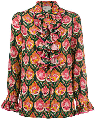 Gucci ruffled printed blouse $2,200 thestylecure.com