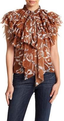 Gracia Printed Sheer Ribbon Tie Sleeveless Top