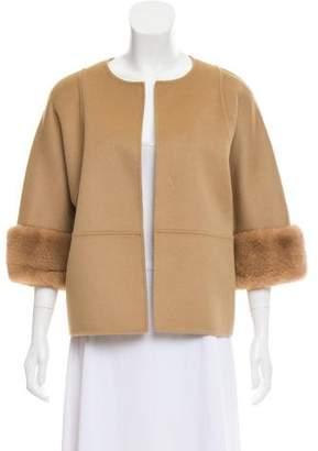 Michael Kors Mink-Trimmed Open Front Jacket