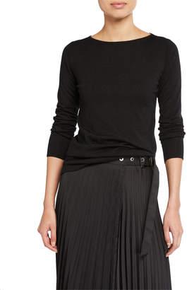 Brunello Cucinelli Shimmer Cashmere-Silk Boat Neck Sweater