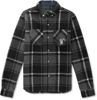 Billionaire Boys Club Button-Down Collar Logo-Appliqued Checked Flannel Overshirt
