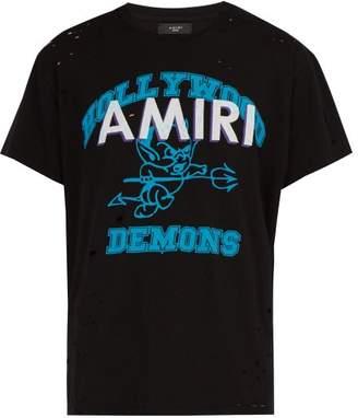Amiri Hollywood Demons Print Cotton T Shirt - Mens - Black