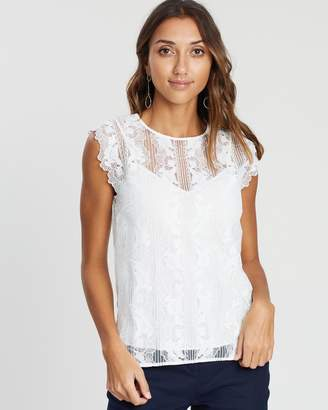 David Lawrence Sleeveless Lace Detail Top