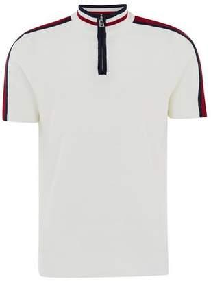 Topman Mens White Zip Neck Short Sleeve Sweater