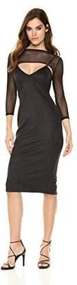 Velvet Rope Women's Knit Mesh Contrast Long Sleeved Front Cutout Midi Dress