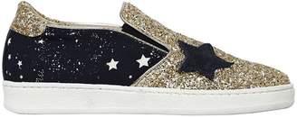 MonnaLisa Star Glitter Leather Slip-On Sneakers