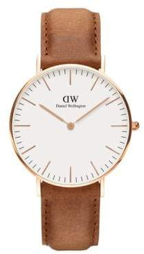 Daniel Wellington Classic Durham Rose Gold and Leather Strap Watch, 36mm