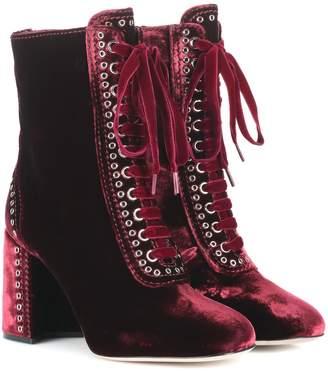 Miu Miu Lace-up velvet ankle boots