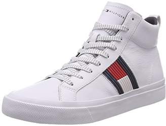 2162f7d15 Tommy Hilfiger Men s Flag Detail High Leather Sneaker Low-Top (White ...