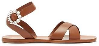 Miu Miu Crystal Buckle Leather Sandals - Womens - Tan