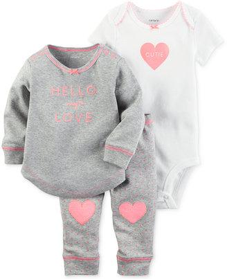 Carter's 3-Pc. Hello My Love Top, Bodysuit & Leggings Set, Baby Girls (0-24 months) $12.98 thestylecure.com