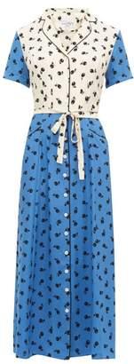 HVN Long Maria Cherry Print Silk Dress - Womens - Blue Multi