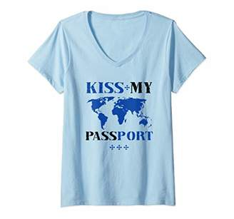 Womens Funny Vacation Gift Kiss My Passport Travel Quote Graphic V-Neck T-Shirt
