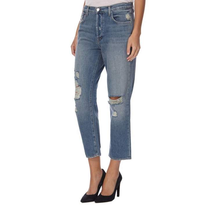 Blue Ivy High Rise Straight Fit Cropped Jeans