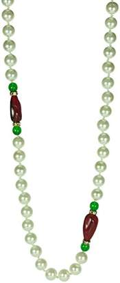"Kenneth Jay Lane 48"" Inch 8mm White Glass Necklace With Red Bead Stations"