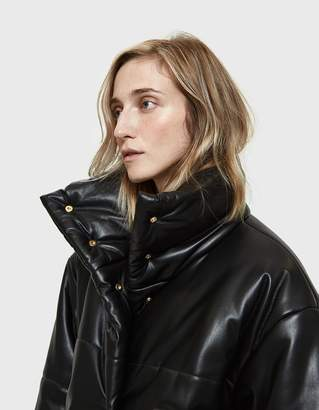 Hide Vegan Leather Puffer Coat in Black