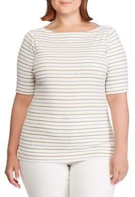 Lauren Ralph Lauren Plus Striped Boatneck Top