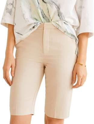 MANGO Cicly Cotton Linen Blend Bermuda Shorts