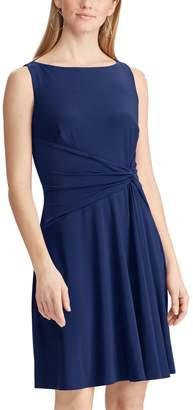 6750712de12 Chaps Petite Knot-Front Pleated Fit   Flare Dress