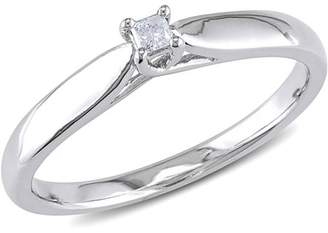 Miabella Princess-Cut Diamond Accent Sterling Silver Solitaire Promise Ring